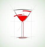 Vidrio del vector del circuito del concepto del menú del vino Ilustración del Vector