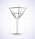 Vidrio del vector del circuito del concepto del menú del vino Stock de ilustración
