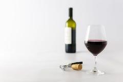 Vidrio del vino rojo y de la botella Foto de archivo