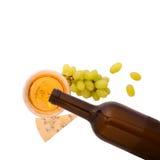 Vidrio del vino y de la botella Imagen de archivo libre de regalías