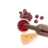 Vidrio del vino y de la botella Fotografía de archivo