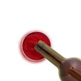 Vidrio del vino y de la botella Imágenes de archivo libres de regalías