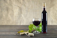 Vidrio del vino y de la botella de vino Imagen de archivo