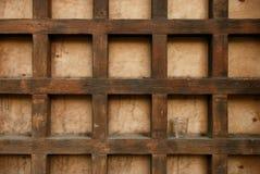 Vidrio en el fondo de madera Fotografía de archivo