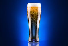 Vidrio escarchado de cerveza ligera Fotografía de archivo