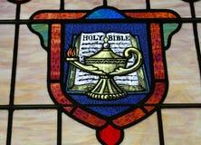 Vidrio manchado de la biblia santa Imágenes de archivo libres de regalías