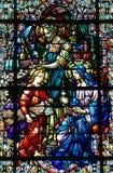 Vidrio manchado de la familia santa Imagen de archivo libre de regalías