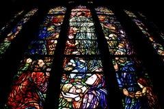 Vidrio manchado en iglesia Fotografía de archivo