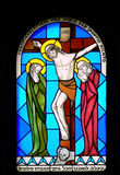 Vidrio manchado en la iglesia. Fotos de archivo libres de regalías