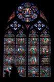 Vidrio manchado en Notre Dame Imágenes de archivo libres de regalías