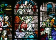 Vidrio manchado - escena de la natividad Foto de archivo libre de regalías
