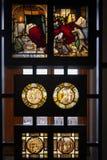 Vidrio manchado y pintado exhibido en Victoria y Albert Museum imágenes de archivo libres de regalías