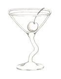 Vidrio provenido ondulado de Martini con la cereza de marrasquino Imágenes de archivo libres de regalías