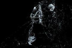 Vidrio quebrado en un fondo negro Imagen de archivo