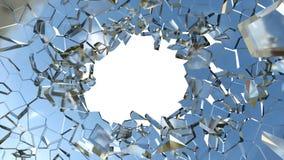 Vidrio roto: pedazos y agujero agudos en blanco imágenes de archivo libres de regalías