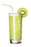 Vidrio sano de sabor del kiwi de los smoothies aislado en blanco Fotos de archivo libres de regalías