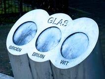 Vidrio subterráneo de la papelera de reciclaje, holandés foto de archivo