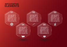 Vidrio transparente del hexágono para el diseño de negocio, templ del infographics Fotografía de archivo libre de regalías