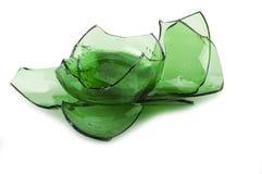 Vidrio verde quebrado Fotos de archivo