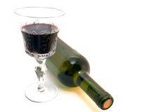 Vidrio y botella de vino rojo Foto de archivo