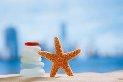 Vidrio y estrellas de mar del mar con el océano, la playa y el paisaje urbano Imágenes de archivo libres de regalías