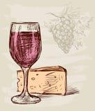 Vidrio y queso de vino libre illustration