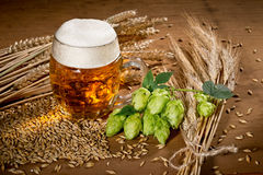 Vidrio y saltos de cerveza Imágenes de archivo libres de regalías