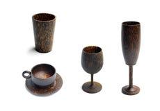 Vidrio y taza de madera Foto de archivo libre de regalías