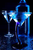 Vidrios azules de martini Imagen de archivo