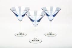 Vidrios azules de martini Fotos de archivo libres de regalías