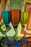 Vidrios coloridos de licor Fotos de archivo libres de regalías