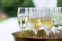 Vidrios con el champán para el partido Fotografía de archivo