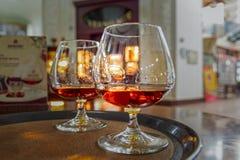 Vidrios con el coñac en la bandeja Colección del vintage, bebidas alcohólicas fijadas foto de archivo