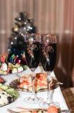 Vidrios con el vino Imágenes de archivo libres de regalías