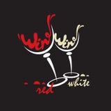 Vidrios con el vino blanco rojo y Imagen de archivo libre de regalías