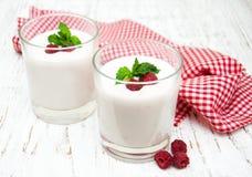 Vidrios con el yogur de fruta Imágenes de archivo libres de regalías