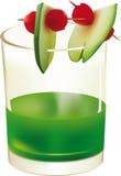 Vidrios con la bebida y la fruta verdes Ilustración del Vector