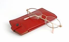 Vidrios con la cubierta de cuero roja Imagen de archivo