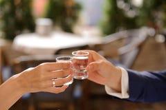 Vidrios con la vodka Foto de archivo