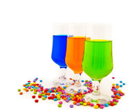 Vidrios con las bebidas del color - un partido Fotografía de archivo