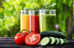 Vidrios con los jugos de las verduras frescas en el jardín Dieta del Detox Imagen de archivo