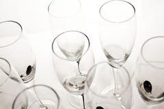 Vidrios cristalinos para el champán Imagen de archivo libre de regalías