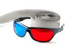 vidrios 3d y tira de la película Imagen de archivo