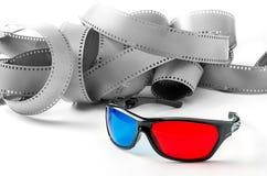vidrios 3d y tira de la película Fotografía de archivo libre de regalías