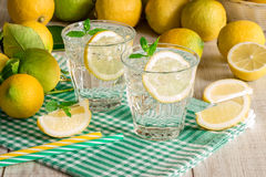 2 vidrios de agua de soda con los limones Foto de archivo libre de regalías