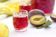 Vidrios de alcohol del ciruelo con los ciruelos Imagen de archivo libre de regalías
