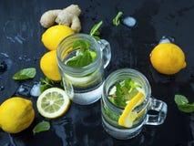 Vidrios de cócteles frescos del mojito con la menta fresca y los limones en dar Fotografía de archivo libre de regalías