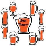 Vidrios de cerveza con el sistema del vector de la espuma Foto de archivo libre de regalías
