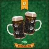 Vidrios de cerveza de la cubierta 2 del vintage del día del St Patricks ilustración del vector