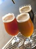 Vidrios de cerveza dorada y de oscuridad Imagen de archivo libre de regalías